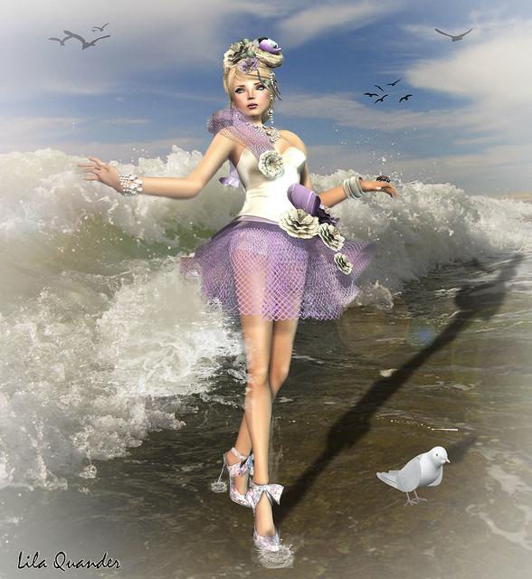 Donna Flora CRISTIANA - Lilac  & LINDA Chiffon Shoes - Lilac Peony
