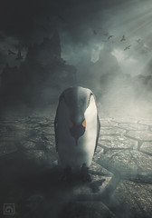 Heartache (kris greenwell) Tags: oldmanofstorr animal birds clouds composite conceptual cracks crows dark dramatic figure heartache krisgreenwellphotography lightroom mist mountains penguin photoshop ploygon solitude texture