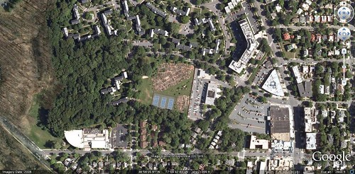 (satellite view of Cleveland Park victory gardens, Washington DC, zoomed out)