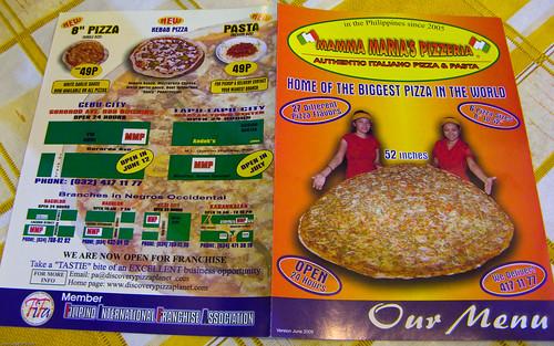 Mamma Maria's Pizzeria: Menu