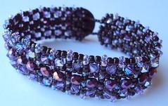 Princess Jezebels Jewels (fivefootfury) Tags: purple royal jewelry bracelet jezebel cuff beaded beadwork swarovskicrystals beadweaving purpleandblack ebwteam etsydarkteam