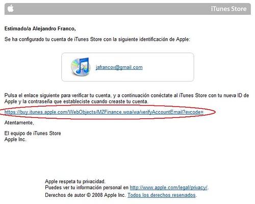 Cuenta iTunes Store 04 Correo