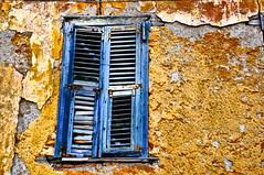 Golden Crusts & Blue Window (Faddoush) Tags: old blue texture window wall crust gold golden nikon hellas athens greece plaka hdr d90 colorphotoaward faddoush