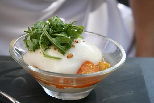 Bistrot Le 7, Valence: Les tomates de variétés anciennes, crémeux de mozzarella di bufala
