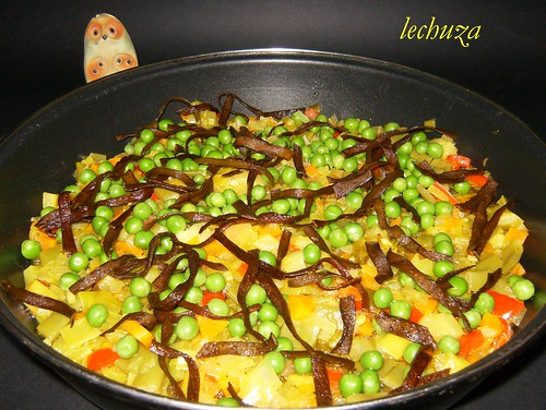 arroz con verdura-añadir espaguetti de mar