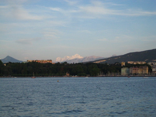 Geneva with Mont Blanc in the Distance