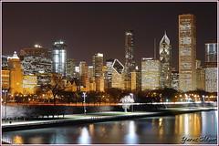 Chicago Skyline (Yavuz Alper) Tags: chicago skyline night reflections illinois downtown northwest loop lakemichigan trumptower skycrapers aoncenter twoprudentialplaza