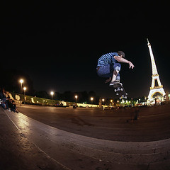 Paris 2009 (Cherryrig) Tags: paris 6x6 film price dave night matt photography site nikon skateboarding thomas flash slide bronica provia sqa t2 skyport qflash cherryrig 35mmf35fisheyeps