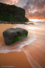 Bungan Beach, Sydney, Australia (-yury-) Tags: ocean sea seascape beach water clouds sunrise flow sand weed sydney wave australia nsw landscpae bungan abigfave bunganbeach northernbeaqches