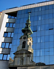 old/new (klaus53) Tags: vienna wien new old blue reflection church austria kirche blau spiegelung stiftskirche mariahilferstrasse vanagram
