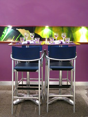 Lyon, France, 2008 (Photox0906) Tags: france modern restaurant hotel glasses design purple chairs lyon moderne tables mauve service stools cutlery verres novotel gerland foodservice hôtel accor restauration couverts
