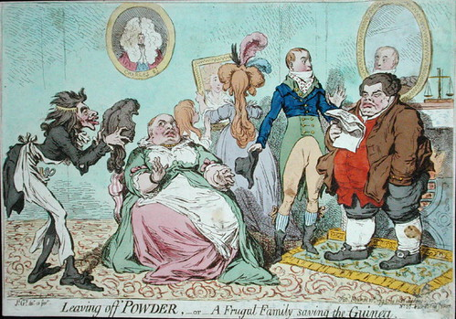 Leaving off Powder or A Frugal Family Saving the Guinea (Gillray) 1795