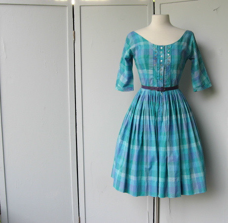 blue check Jonathan Logan dress