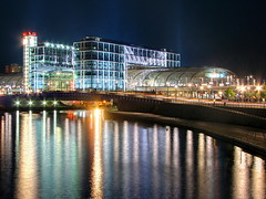 Berlin railway station (Mike G. K.) Tags: building berlin colors station night train reflections river germany lights gare hauptbahnhof kaiser hdr mainstation berlinhauptbahnhof photomatix raiway 3exp mikegk:gettyimages=submitted