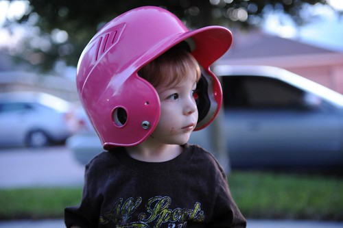 269/365: wearing his sis' helmet