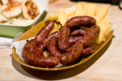 Colombian Sausages: served