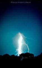 thunderstruck (shojaru) Tags: blue light sky black tree nature night dark fuji crack fujifilm lightning thunder mothernature