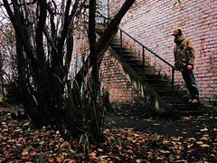 Day 356 (Ponyatovsky) Tags: street wood autumn trees red portrait selfportrait color trash october stair bodylanguage stairway foliage digitalcrossprocess 365daysselfportraits