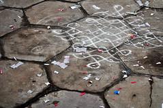 Kolam. (redelephant21) Tags: india white grey cement diwali chennai kolam