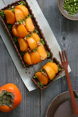 Persimmon and Chocolate Tart (bananagranola (busy)) Tags: autumn food fall cake japan dessert japanese baking chocolate homemade sweets persimmon tart kaki