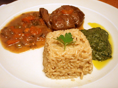 Ossobucco with king boletes risotto and creamy spinach