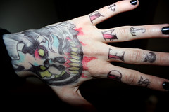 DEAD. (holloh) Tags: music black halloween metal dead skull october scene tattoos horror bodyart essex 31st biro dropdead felttip tattooed legit bringmethehorizon fingertattoos tattooedhands olisykes