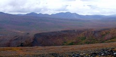 Horseshoe Valley (Travis S.) Tags: autostitch panorama mountains alaska clouds river south panoramic ridge valley nome survey sewardpeninsula stewartriver horseshoeridge stewartrivericepatchsurvey