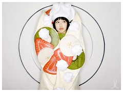 J in crepe suit (willteeyang) Tags: girl costume handmade strawberries bananas crepe kiwi crpes ringflash whipcream handmadecostume