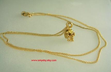 Birdhouse Jewelry - Tiny Gold Skull Necklace