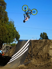 Sideways Backflip at SF Bike Expo (JJ San) Tags: sanfrancisco bike cycling bmx biking freeride backflip wheelsintheair sfbikeexpo atshowdown