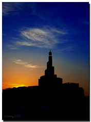 Fanar in Silhouette (Explored) (Jun Qatar // Love Nature) Tags: city longexposure sky art beautiful architecture night digital sunrise nikon cityscape gulf shot nightshot islam middleeast mosque best islamic doha qatar bestshot fanar islamiccenter d90 shalat amazingqatar