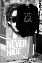 never hide in L.A. _kwallis_2009 (Krystle Wallis) Tags: california blackandwhite bw white black love sign digital canon eos rebel tokyo la losangeles little southern socal hide xs southerncalifornia dslr krystle wallis rayban iheartla ilovela ilovelosangeles krystlewallis