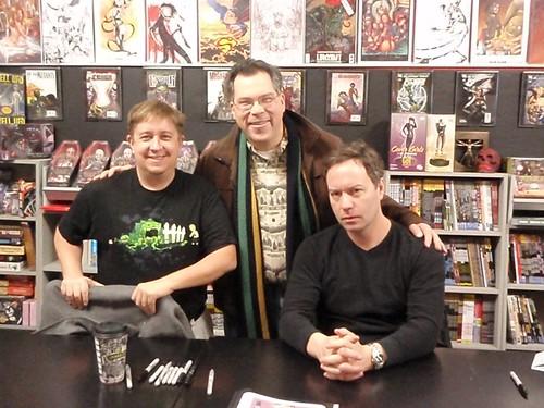John Layman and Mark Rahner sign comics for Mark Monlux