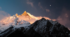 Nepal - Machhaphuchhare, MBC (Mike.Trent) Tags: nepal sunset moon mountains trekking hiking altitude nikond100 abc d100 annapurnacircuit annapurna himalayas 24120mm machhapuchhre annapurnabasecamp machhapuchhrebasecamp annapurnasanctuary machapuchare fishstail machhaphuchhare 24120mm3556 lpmountains lpgoldenhour