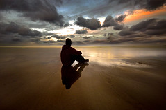 Contemplation (dan barron photography - landscape work) Tags: ocean sunset seascape man beach silhouette reflections person coast sand colours web northumberland cloudscape conceptwater