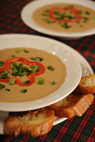 Roasted Chestnut Soup with Festive Garnish