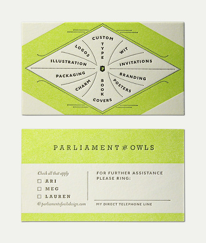 Parliament of Owls Business Card