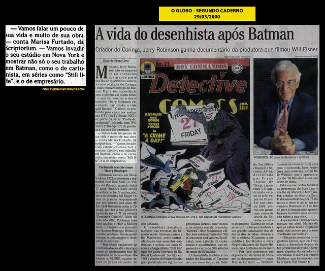 """""""A vida do desenhista após Batman"""" - O Globo - 29/03/2000"""