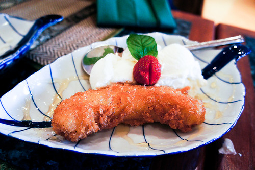 Thai's Crispy banana with ice cream กล้วยหอมทอด