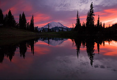 Red Sky at Night (MLDAwsonImages) Tags: sunset mountain lake reflection forest still pond dusk alpine rainier wilderness tarn mtrainier