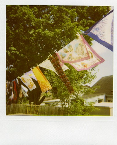 Polaroid - scarves on clothesline