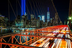 On the Brooklyn Bridge (NYC) (Cédric Mayence Photography) Tags: nyc newyork newyorkcity brooklyn brooklynbridge nightshot nuit longexposure longuepause longue pose light tributeinlights 911 11ofspetember manhattan hdr highdynamicrange canon