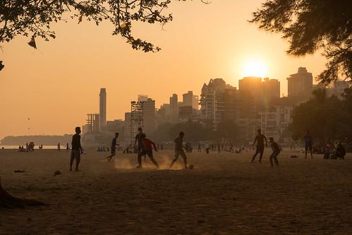 Soccer at Chowpatty Beach, Mumbai