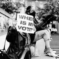 Where is my vote? (tsienni) Tags: street woman t freedom democracy election iran kodak sweden stockholm tmax political protest photojournalism documentary iso demonstration contax 400 vote press torg presidental reportage reform sergels carlzeissplanar 45mmf2