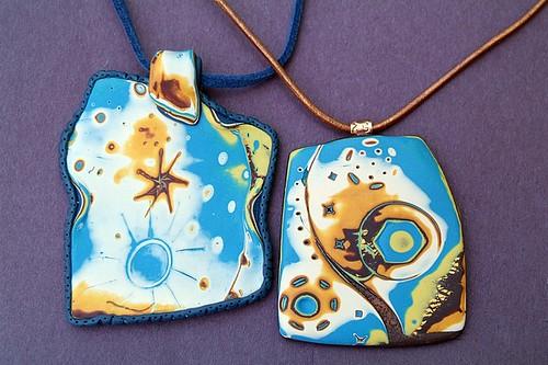 Mokume gane pendant -- both together