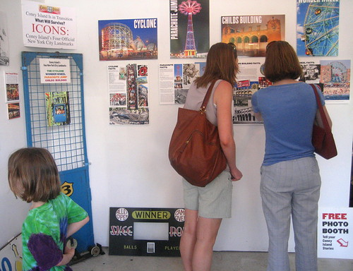 Visitors viewing Coney Island Icons at the History Projects exhibition center. Photo © Coney Island History Project via flickr