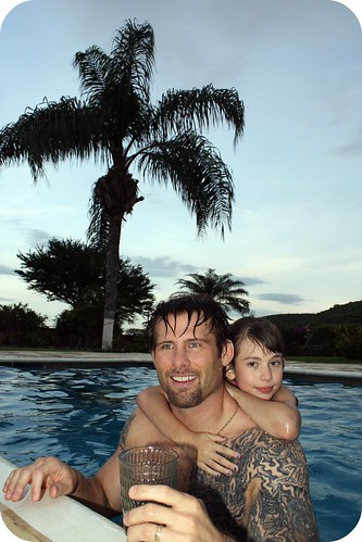 swimming with dad by you.