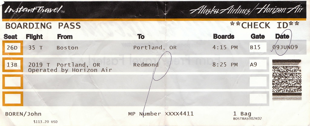 Alaska Airlines Boarding Pass