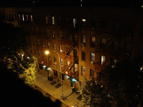 "Night time view from ""my"" apartment in Lower East Side, Manhattan."