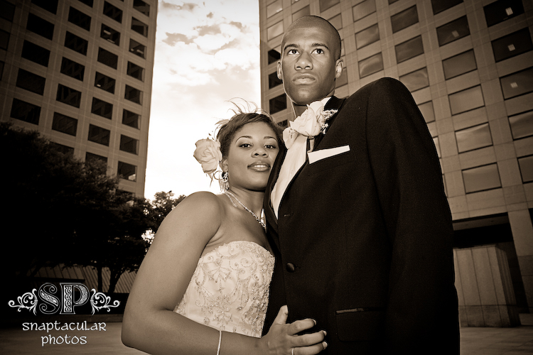 candace and rasmi wedding portraits at the las colinas plaza outside la cima club at their wedding reception